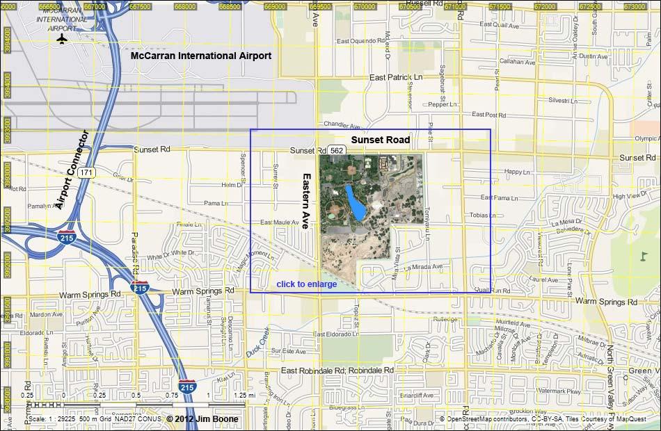 Birding Around Las Vegas Sunset Park Area Map