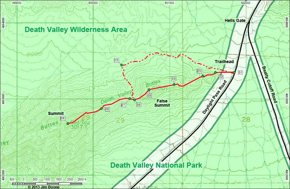 Hiking Around Las Vegas, Valley NP, Valley Buttes Map on