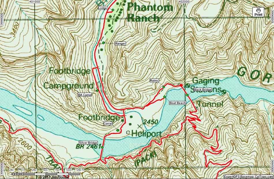 Hiking Around Las Vegas, Grand Canyon NP, Bright Angel Trail Map