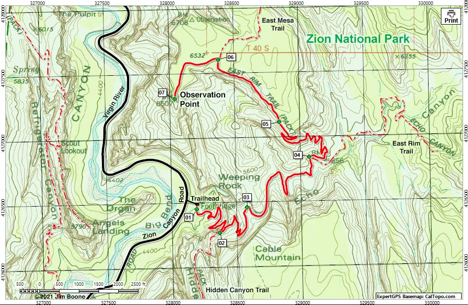 on zion national park hiking trail map