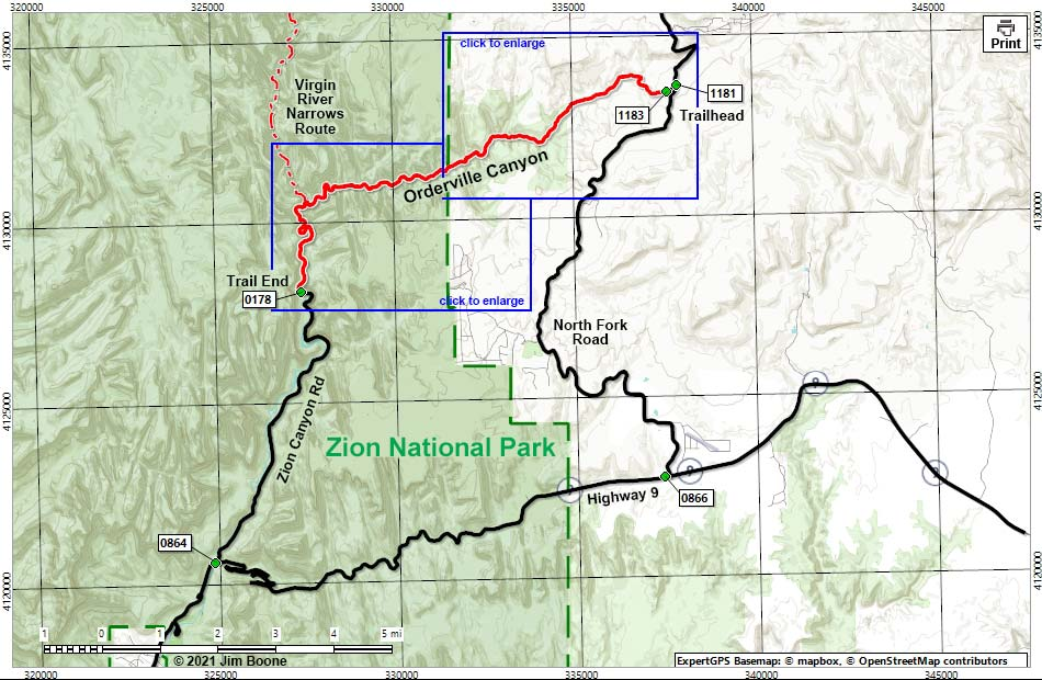 Hiking Around Las Vegas, Zion National Park, Orderville Canyon Route on united states route map, purple line route map, chicago route map, mt whitney route map, great lakes route map,