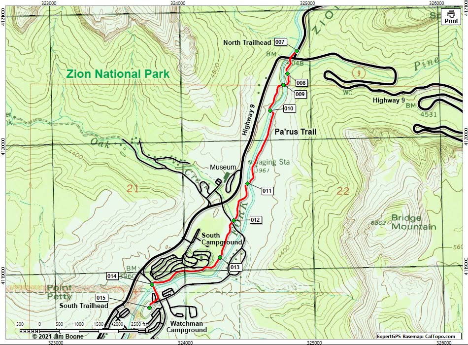 Hiking Around Las Vegas, Zion National Park, Pa'rus Trail Map on