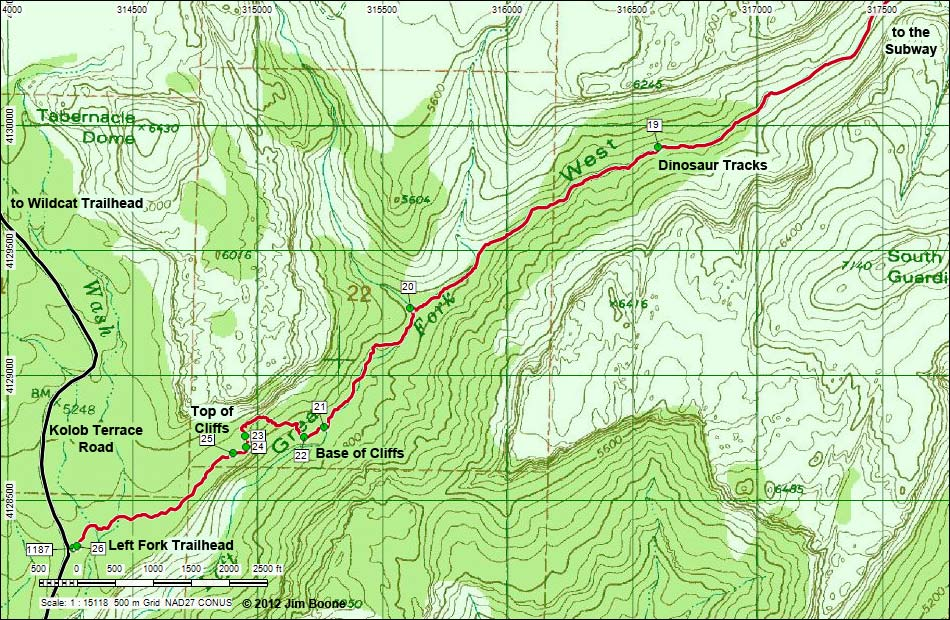 Hiking Around Las Vegas, Zion National Park, Subway Route Map on
